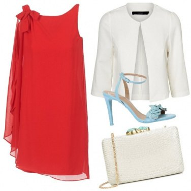 Outfit Rosso Turchese Bianco