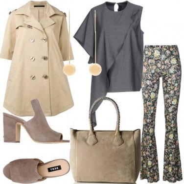 Outfit Pantalone a zampa floreale