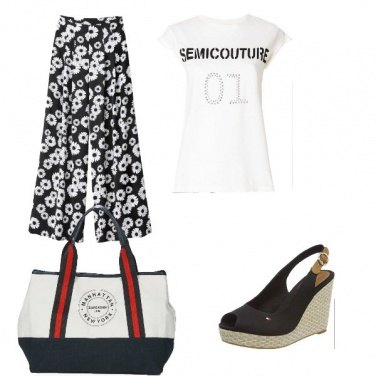 Outfit Outfit donna con pantalone a fantasia