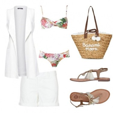 Outfit Total White on the Beach