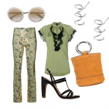 Outfit CMPS Pantalone fantasia in green