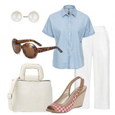 Outfit Pantalone culotte e sandalo vicky