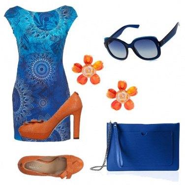 Outfit Turchese blue e arancio