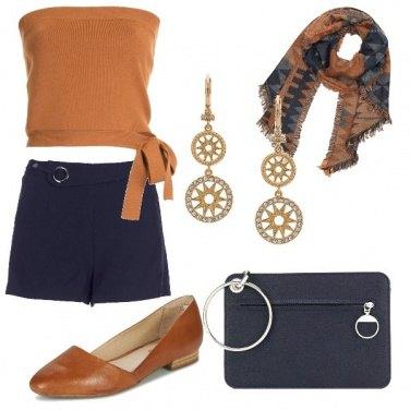 Outfit Blu e caramello