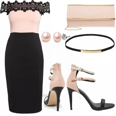 Outfit Pink, black & gold