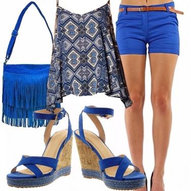 Outfit Snorkel blue, shorts, zeppe e frange