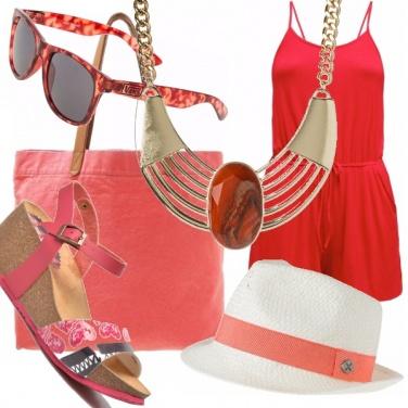Outfit Al mare coi colori del fuoco