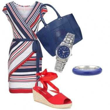 Outfit Bianco rosso e blu