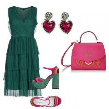 Outfit Smeraldo e fucsia