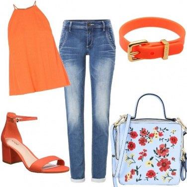 Outfit Denim e arancione