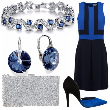 Outfit Blue, black and silver