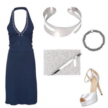 Outfit Raffinato blu e argento