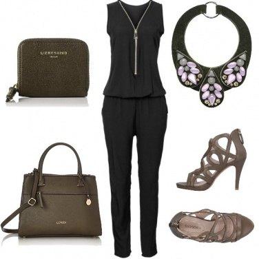 Outfit Nero e verde militare