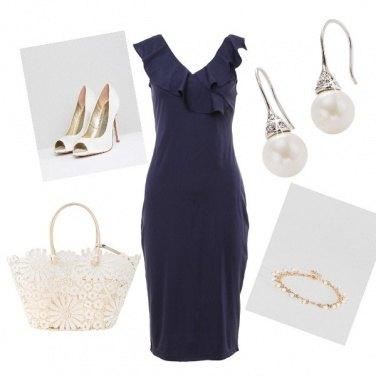 Outfit Semplice bianco e blu