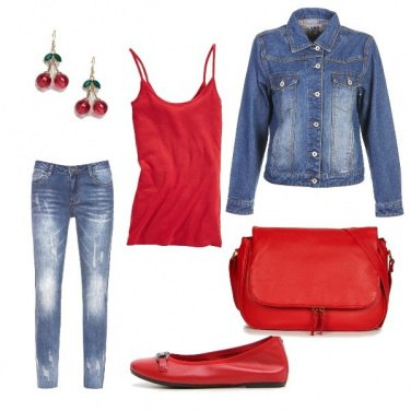 Outfit Rosso e jeans