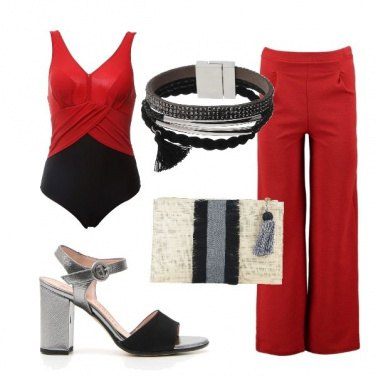 Outfit Grey, red and...