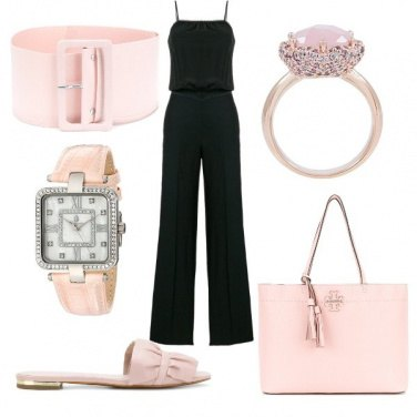 Outfit Chic in nero e rosa