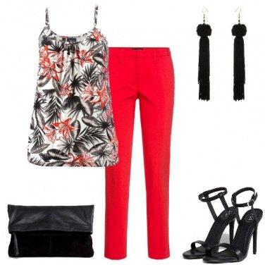 Outfit Pantalone rosso per la sera