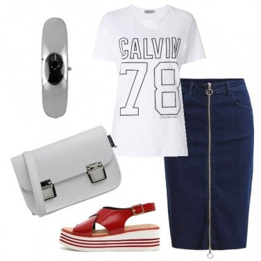 Outfit Pencil skirt in jeans