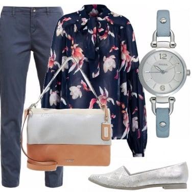 Outfit Blu e fiori