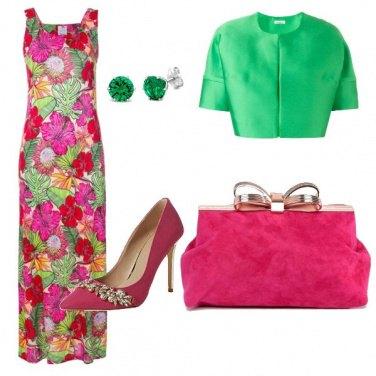 Outfit Verde prato e fucsia