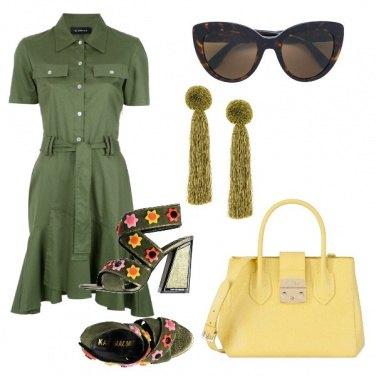 Outfit Chemisier verde oliva