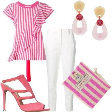 Outfit Righe panna e fragola