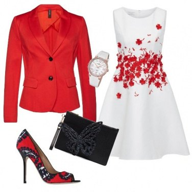 Outfit Red, Black, White