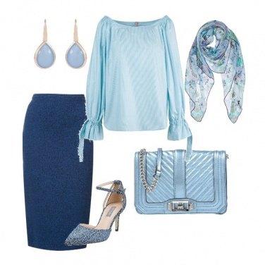 Outfit Celeste con classe