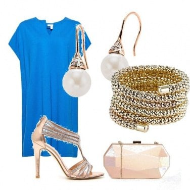 Outfit Chic blu e oro