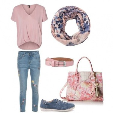Outfit Jeans a fiori