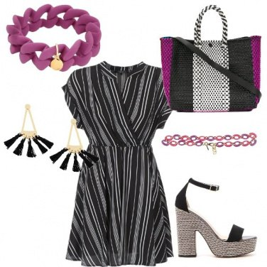 Outfit Righe e viola