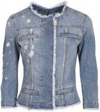 Giacca in jeans corta con strass applicati e logo con brillanti 77403DENBLU