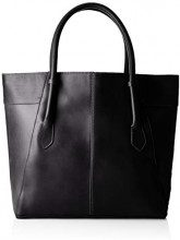 PIECES Pctamela Leather Shopper - Borse a spalla Donna, Nero (Black), 12x34x45 cm (B x H T)