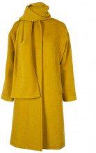 Cappotto lungo color senape con sciarpa 160VERDEOLIO