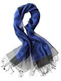 Prettystern - decorativo strati leggermente seta e materiale metallico luccicante lunga sciarpa - 11 colori