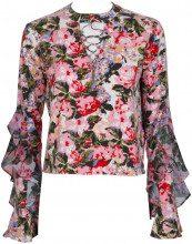 Camicia rosa con fantasia floreale e maniche a campana POETIC ROSE