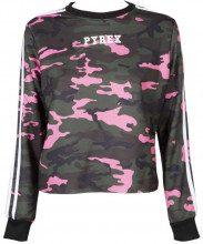 Felpa con stampa camouflage e logo rosa MACU