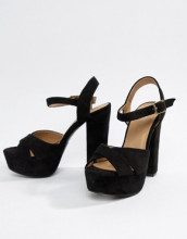 Sandali in camoscio sintetico nero con tacco largo