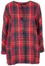 Cappotto rosso in tartan con fiocco sulla schiena RED