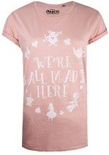 Disney Alice in Wonderland-We're all Mad Here, T-Shirt Donna, Rosa (Dusty Rose Dsr), 46 (Taglia Produttore: Large)