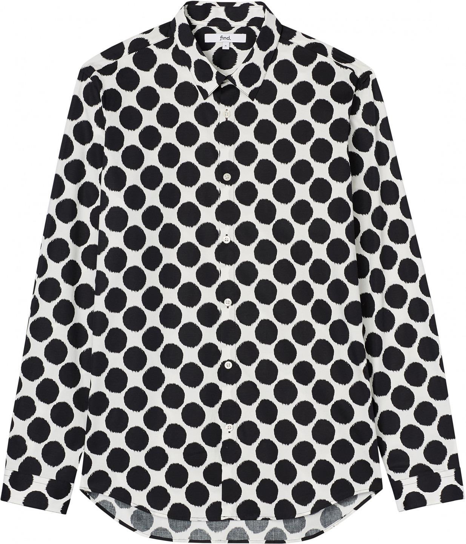 Larghi UomoNeroBlackXX Pois Camicia a Slim FIND Fit Large MVqUpzS