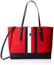 Tommy Hilfiger Honey Med Tote Print - Borse Donna, Rosso (Red/Core Stripe), 13.5x27x42 cm (B x H T)