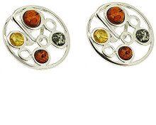 Nova Silver-Orecchini a perno in argento e ambra mista, motivo: Geisha