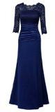 MIUSOL Pizzo Vestito Lungi Donna Vintage Slim Lungo Abito Da Sera Blu X-Large