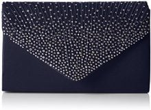 SwankySwansAbby Diamante Envelope Style Bag - Sacchetto donna , Blu (Blu (Navy Blue)), M