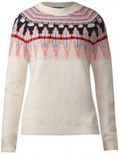 Street One Pullover with New Norwegian P Attern, Maglione Donna, Weiß (Off White 30108), 50