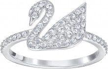 Anello Iconic Swan, bianco, placcatura rodio