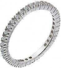 Dew-Collana in argento Sterling e Zirconia cubica, con anello Eternity a fascia da donna, taglia: M