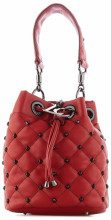 Borsa a secchiello con borchie Red